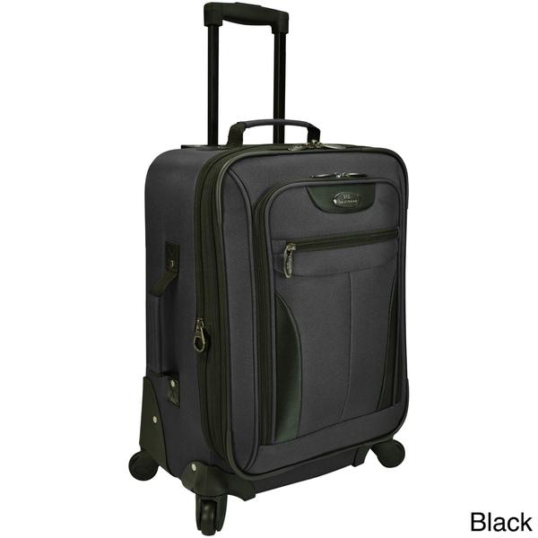 One Size Black White Chevron World Traveler 20 Inch Rolling Carry-On Luggage Suitcase