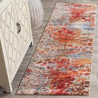Safavieh Valencia Multi Abstract Distressed Silky Polyester Rug - 2'3 x 8'