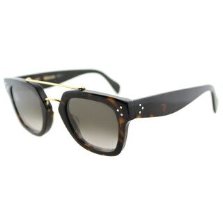 Celine CL 41077 086 Dark Havana Plastic Rectangle Brown Gradient Lens Sunglasses