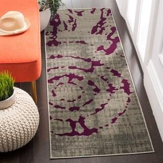 Safavieh Porcello Abstract Contemporary Light Grey/ Purple Rug (2' 4 x 9')