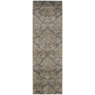 Safavieh Florida Shag Grey/ Beige Damask Runner (2'3 x 11'7)