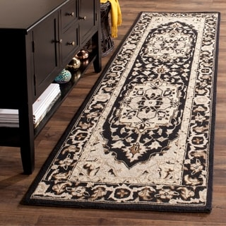 Safavieh Hand-hooked Chelsea Black/ Natural Wool Rug (2'6 x 10')