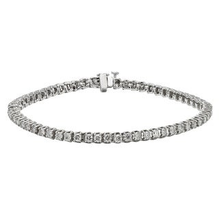 Unending Love 10K White Gold 1-carat Total Weight Diamond Tennis Bracelet