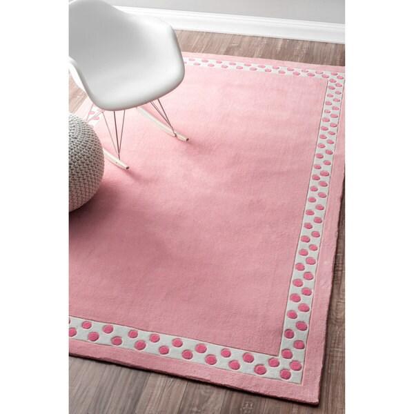 Nuloom Handmade Dotted Trellis Wool Kids Nursery Baby Pink: NuLOOM Handmade Modern Solid Dotted Border Kids Pink Rug