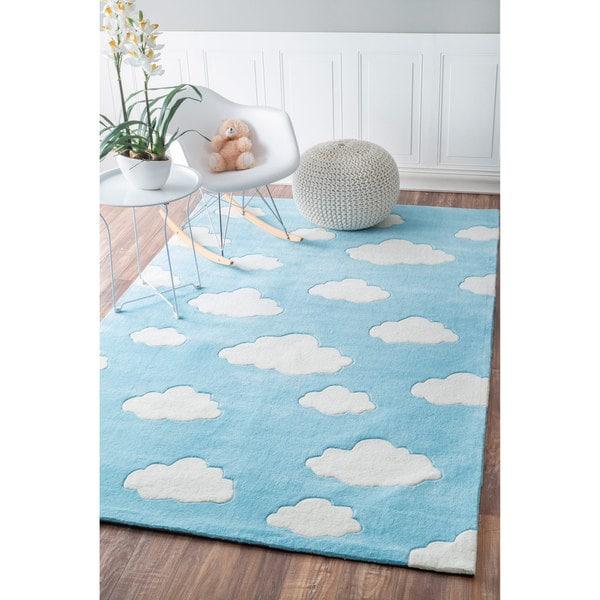 Modern Nursery Rug: NuLOOM Handmade Modern Clouds Kids Nursery Blue Rug (3'6 X