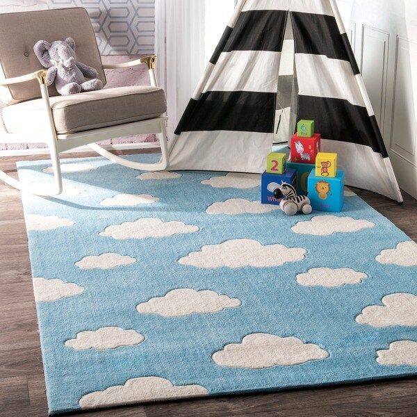 Modern Nursery Rug: Shop NuLOOM Handmade Modern Clouds Kids Nursery Blue Rug