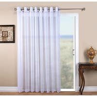 """Tergaline Semi-Sheer Grommet Panel with Corded Weighted Hem and Attachable Pull Wand 96"""" In White (As Is)"""
