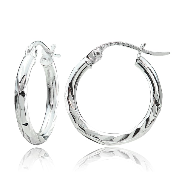 Mondevio Sterling Silver Diamond Cut Hoop Earrings Set Of 3