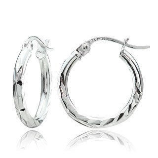 Mondevio Sterling Silver 2mm Diamond-Cut Hoop Earrings, 15mm