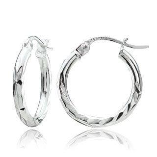 Mondevio Sterling Silver Diamond-Cut Hoop Earrings Set of 3