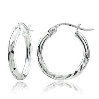 Mondevio Sterling Silver Diamond-Cut Hoop Earrings Set of 3|https://ak1.ostkcdn.com/images/products/11815187/P18722079.jpg?impolicy=medium