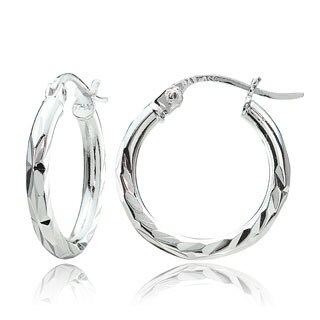 Mondevio Sterling Silver Diamond-Cut Hoop Earrings Set of 3