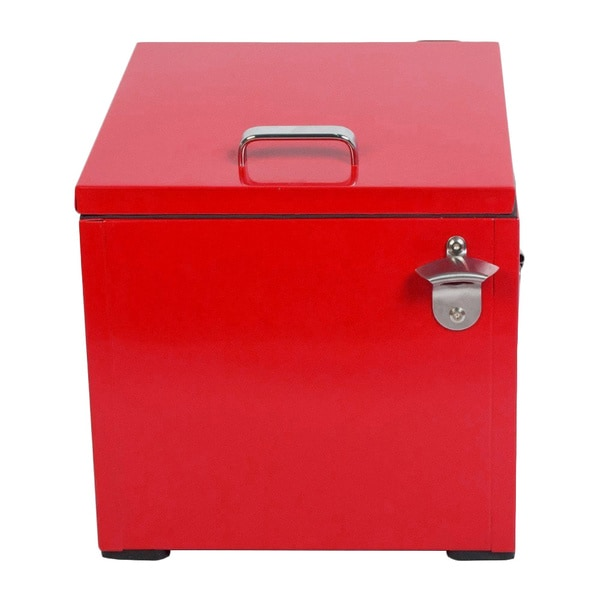 HIO Red Steel 24-quart Retro-style Outdoor Patio Cooler Lunch Box