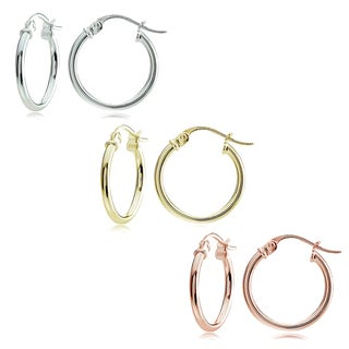 Mondevio Sterling Silver 1.5 mm x 15 mm High Polished Hoop Earrings Set
