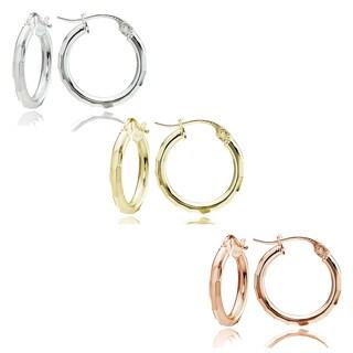 Mondevio Sterling Silver 2 mm x 15 mm Diamond-cut Hoop Earrings Set