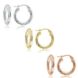 Mondevio Sterling Silver 2.5 mm x 15 mm Diamond-cut Hoop Earrings Set