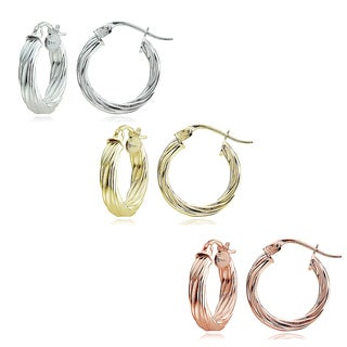 Mondevio Sterling Silver High Polished Round Twist Hoop Earrings (Set of 3)
