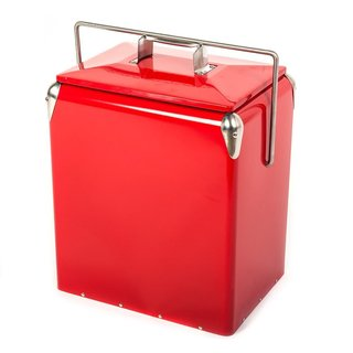 HIO Steel Cooler Red Steel 13-quart Retro-style Outdoor Patio Cooler Lunch Box