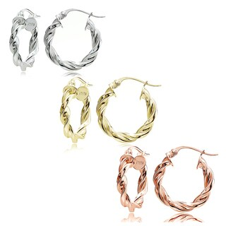 Mondevio Sterling Silver 2 mm x 15 mm High Polished Concave Twist Hoop Earrings Set