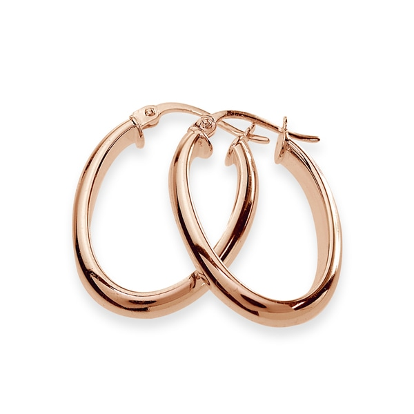 Oval 1.5mm Square-Tube Hoop Earrings in Rose Gold Plated Sterling Silver 15mm