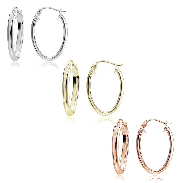 Mondevio Sterling Silver 2 mm High Polished Oval Hoop Earrings (Set of 3)