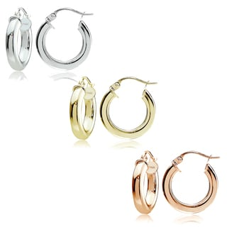 Mondevio Sterling Silver 3 mm x 15 mm Square Tube Hoop Earrings Set
