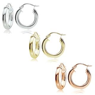 Mondevio Sterling Silver 3 mm x 15 mm Square Tube Hoop Earrings Set