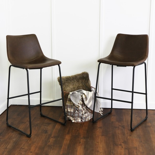 30 inch brown faux leather barstools set of 2 free shipping today overstock 18722257. Black Bedroom Furniture Sets. Home Design Ideas