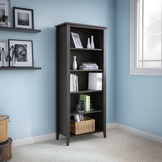 kathy ireland Office Connecticut Black Suede Oak 5-shelf Bookcase|https://ak1.ostkcdn.com/images/products/11815233/P18722110.jpg?impolicy=medium