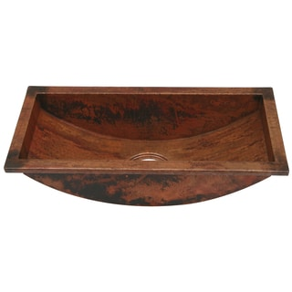 Unikwities Hammered Copper 22 x 10 x 6-inch 14-gauge Self-rimming Trough Sink