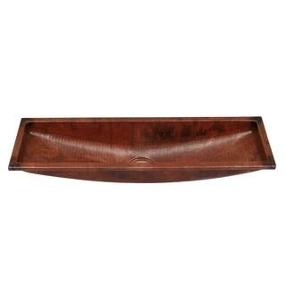 Unikwities 14-gauge 35 x 10 x 6.5-inch Self-Rimming Copper Trough Bar Sink