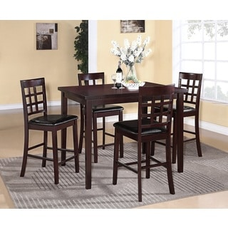 Poka 5-piece Espresso Finish Counter Height Dining Set