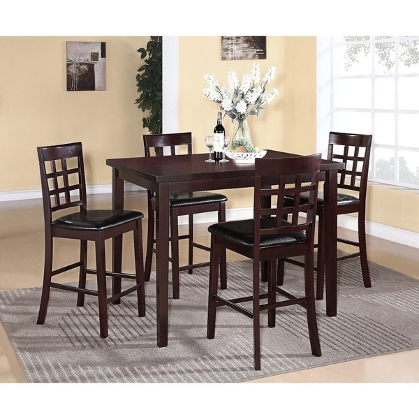 Poka 5 Piece Espresso Finish Counter Height Dining Set