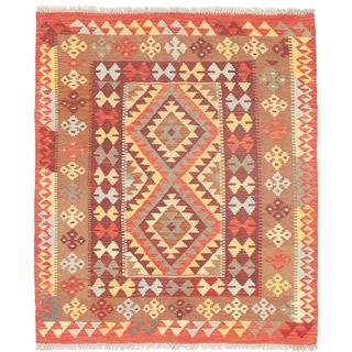 eCarpetGallery Red Izmir Wool Handwoven Kilim (3'4 x 3'10)