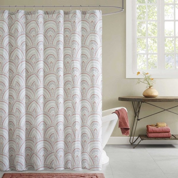Ink Ivy Muriel Coral 100 Percent Cotton Shower Curtain