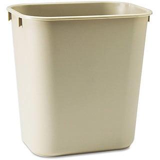 iLIVING Commercial 3.5 Gallon Rectangular Beige Fiberglass Fire-Resistant Trash Can