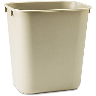 iLIVING Commercial Fiberglass Fire-Resistant Trash Can, 28 quart or 7 gal, Rectangular, Beige