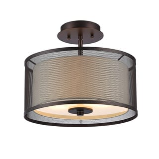 Fabric flush mount lighting for less overstock clay alder home talmadge transitional 2 light oil rubbed bronze flush mount aloadofball Images