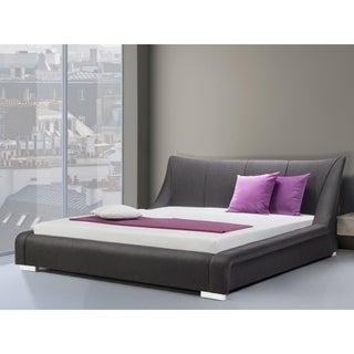 Beliani Grey Fabric Queen-size Upholstered Platform Bed