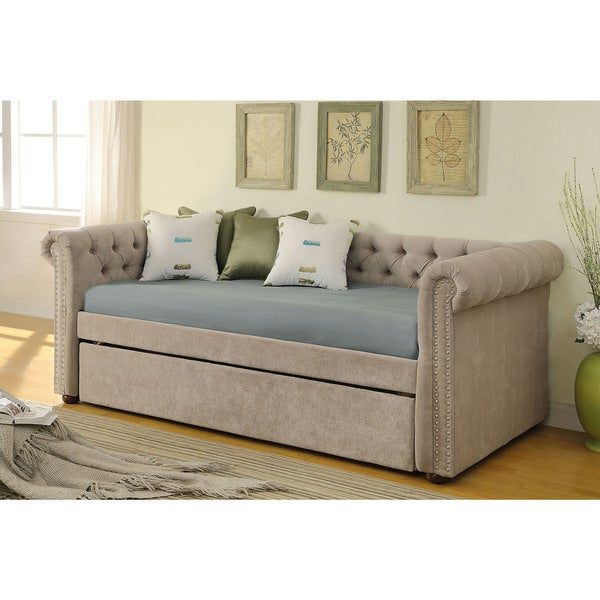 Shop Kensington Beige Fabric Day Bed With Trundle Free