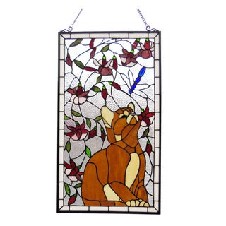 Chloe Tiffany Style Cat and Dragonfly Design Window Panel - M