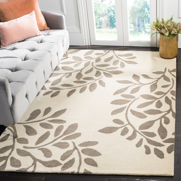 Martha Stewart by Safavieh Leaf Stamp Mushroom Wool Rug - 9' x 12'