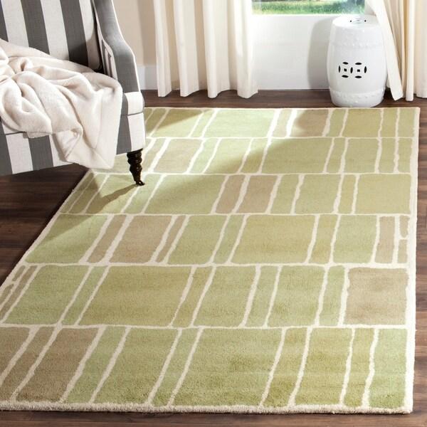 Martha Stewart by Safavieh Blocks Green/ Ivory Wool Rug - 8' x 10'