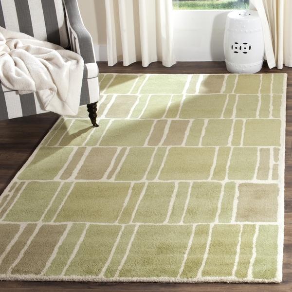 Martha Stewart by Safavieh Blocks Green/ Ivory Wool Rug (8' x 10')