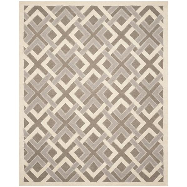 Martha Stewart by Safavieh Woven Lattice Taupe/ Ivory Wool Rug - 8' x 10'