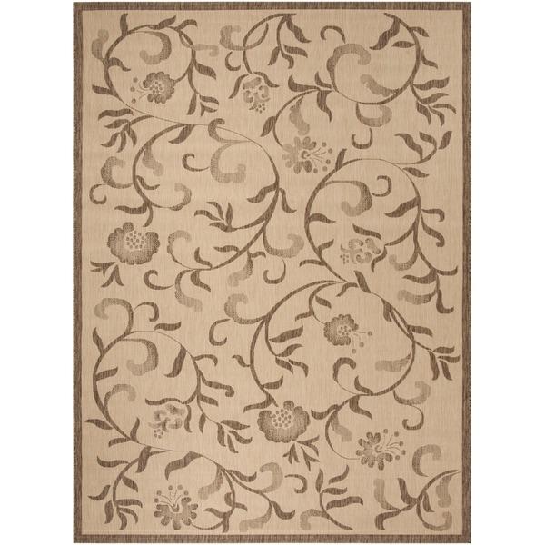 Martha Stewart by Safavieh Swirling Garden Cream/ Brown Indoor/ Outdoor Rug (8' x 11' 2)