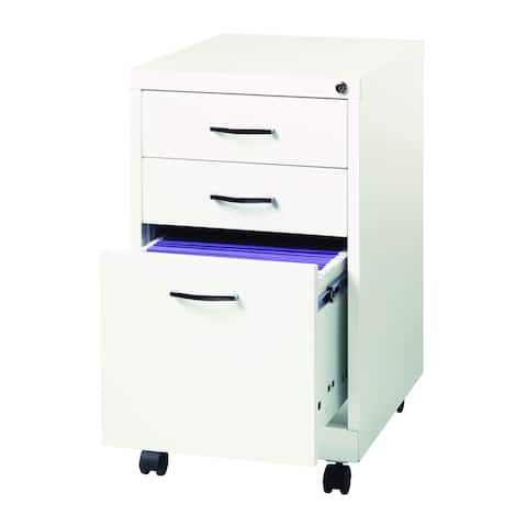 Porch & Den Penelope White Metal 19-inch 3-drawer Pedestal File Cabinet
