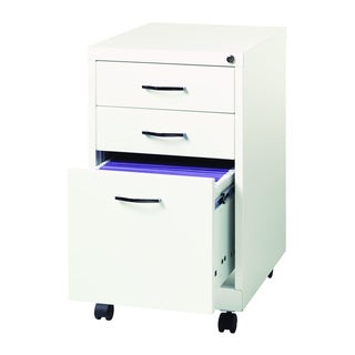 Office Designs White Metal 19-inch 3-drawer Pedestal File Cabinet