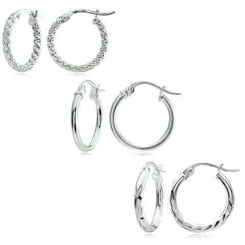 Mondevio Sterling Silver 3-style 15 mm Hoop Earrings Set