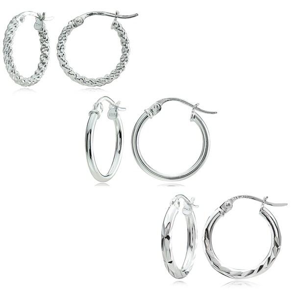 Mondevio Sterling Silver 3 Style 15 Mm Hoop Earrings Set